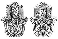 Vector Indian hand drawn hamsa with ornaments stock illustration