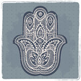 Vector Indian hand drawn hamsa with ornaments Stock Photography