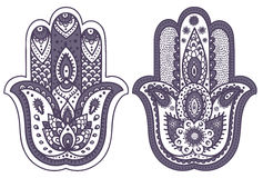 Vector Indian hand drawn hamsa with ornaments Royalty Free Stock Photos