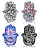 Vector Indian hand drawn hamsa with ornaments Stock Images
