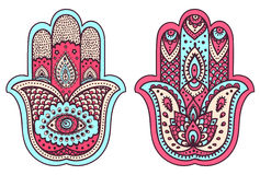 Vector Indian hand drawn hamsa with ornaments Royalty Free Stock Image