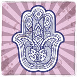 Vector Indian hand drawn hamsa with ornaments Royalty Free Stock Images