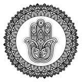 Vector Indian hand drawn hamsa with ornaments Stock Photos