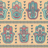 Vector Indian hand drawn hamsa seamless pattern Stock Photos