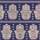 Vector Indian hand drawn hamsa seamless pattern Stock Images