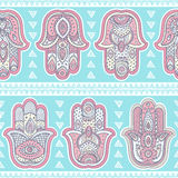 Vector Indian hand drawn hamsa seamless pattern Royalty Free Stock Photography