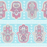 Vector Indian hand drawn hamsa seamless pattern Royalty Free Stock Photos