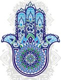 Vector Indian hand drawn hamsa symbol Stock Images