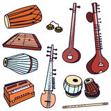 Vector indian instruments. Traditional indian instruments. Vector set for music billboard Stock Photography