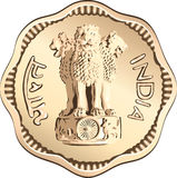 vector Indian money coin with lions Royalty Free Stock Images