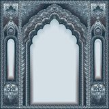 Indian ornamented arch. Color silver Royalty Free Stock Image