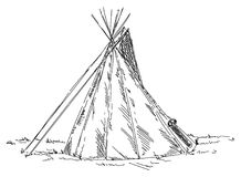 Old indian teepee Stock Images