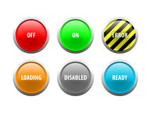 Vector Indicator Buttons. Layered  illustration of technology related words in glass button style Stock Photo