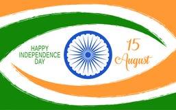 Vector Indien-Unabhängigkeitstaghintergrund mit Rad und Beschriftung Ashoka Stockbild