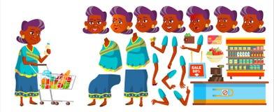 Vector indio de la mujer mayor Person Portrait mayor mayor envejecido Sistema de la creación de la animación sari Emociones de la stock de ilustración