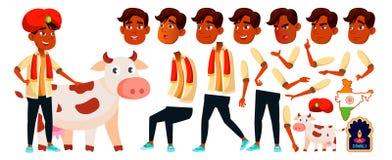 Vector indio del muchacho Diwali, santo, vaca Alto alumno Sistema de la creación de la animación Emociones de la cara, gestos pos libre illustration