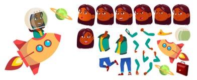 Vector indio, hindú de la muchacha Alumno Sistema de la creación de la animación Emociones de la cara, gestos Sueño, solución, id stock de ilustración