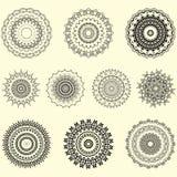 Vector indio y sistema decorativo de la mandala y del ornamento geom?trico stock de ilustración