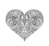 Vector Indisch hennaontwerp voor t-shirt of Web Geïsoleerd op wit Het ontwerp van Mehndi van het hartoverzicht, Indische Hennatat Royalty-vrije Stock Fotografie