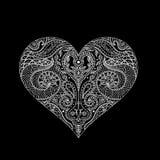 Vector Indisch hennaontwerp voor t-shirt of Web witte lijnen op de zwarte achtergrond Het ontwerp van Mehndi van het hartoverzich Royalty-vrije Stock Fotografie