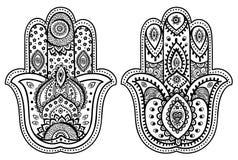 Vector Indische hand getrokken hamsa met ornamenten Stock Foto's