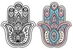 Vector Indische hand getrokken hamsa met ornamenten Royalty-vrije Stock Afbeeldingen