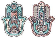 Vector Indische hand getrokken hamsa met ornamenten Stock Foto