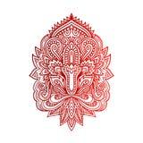 Vector indische Hand gezeichnetes hamsa mit ethnischen Verzierungen Schöne Indien-ethnica Verzierung Volkshennastrauchtätowierung Stockfotografie