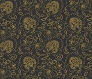 Vector indisches Artmuster der nahtlosen Blume auf grauem Hintergrund Lizenzfreies Stockbild