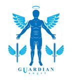 Vector individual, mystic character created with angel wings and Royalty Free Stock Photo