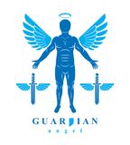 Vector individual, mystic character created with angel wings and Royalty Free Stock Images
