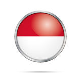 Vector Indonesian flag Button. Indonesia flag in glass button st Stock Photography