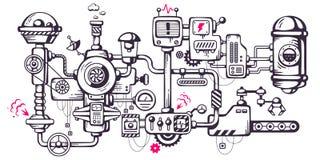 Vector industriële illustratieachtergrond van het werken mecha Stock Afbeeldingen