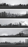 Vector Industrial Backgrounds, Urban Landscapes Royalty Free Stock Photo