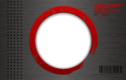 Vector industrial brushed metal techno background with round red paint frame Stock Images