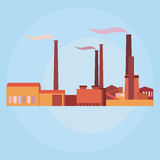 Vector industrial buildings, plants and factories Stock Photos