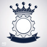 Vector industrial design element, cog wheel with a coronet and b. Lack decorative curvy ribbon. High quality manufacturing gear icon. Best engineering project Stock Photography