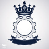 Vector industrial design element, cog wheel with a coronet and b. Lack decorative curvy ribbon. High quality manufacturing gear icon. Best engineering project Royalty Free Stock Photos