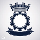 Vector industrial design element, cog wheel with a coronet and black decorative curvy ribbon. High quality manufacturing gear icon. Best engineering project Royalty Free Stock Photo