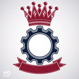 Vector industrial design element, cog wheel. With a coronet and red decorative curvy ribbon. High quality manufacturing gear icon. Best engineering project Stock Photography