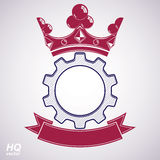 Vector industrial design element, cog wheel with crown Royalty Free Stock Image