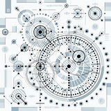 Vector industrial and engineering background, future technical p. Lan. Perspective blueprint of mechanism, mechanical scheme. For use as website background Royalty Free Stock Photo