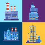 Vector Industrial factory buildings icons set in Stock Image