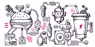 Free Vector Industrial Illustration Background Of The Operating Mecha Stock Images - 44694224