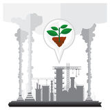 Vector industrial smokestacks emit toxic fumes floating in the Royalty Free Stock Photos