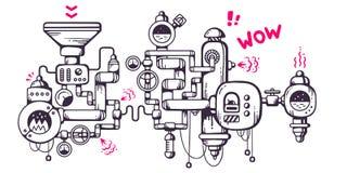 Vector industriellen Illustrationshintergrund des funktionierenden mecha Lizenzfreie Stockbilder