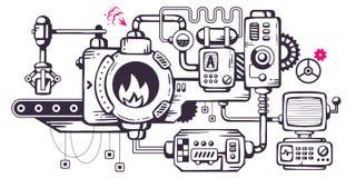 Vector industriellen Illustrationshintergrund des funktionierenden mecha Stockbild
