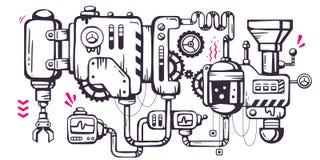 Vector industriellen Illustrationshintergrund des funktionierenden mecha Lizenzfreie Stockfotografie