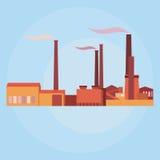 Vector industriële gebouwen, installaties en fabrieken Stock Foto's