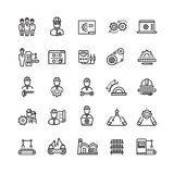 Vector industry engineering mechanical thin line icons. Conveyor machine and process production illustration stock illustration